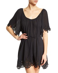 Seafolly Beach Smock Lace Trim Coverup Dress Black