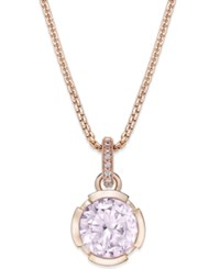 Thomas Sabo Pink Crystal Pendant Necklace In 18K Rose Gold Plated Sterling Silver