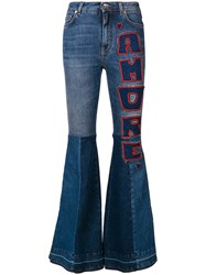 Dolce And Gabbana Flared Amore Jeans Blue