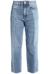 Maje Faded High Rise Straight Leg Jeans Mid Denim