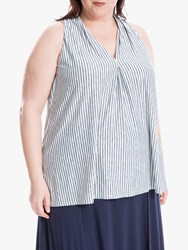 Max Studio Sleeveless Stripe Jersey Top Ivory Navy