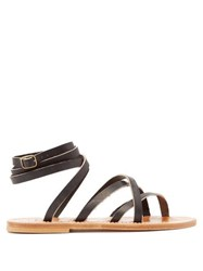 K.Jacques Zenobie Wrap Around Leather Sandals Black