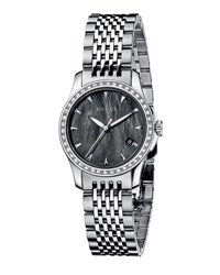 Gucci G Timeless Small Stainless Steel And Diamond Bracelet Watch Black