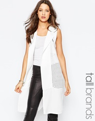 Y.A.S Tall Sleeveless Blazer With Zips White