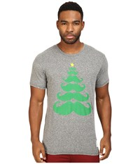 The Original Retro Brand Mustache X Mas Tree Short Sleeve Tri Blend Tee Streaky Grey Men's T Shirt Pewter