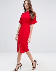Asos Wiggle Dress With Split Front Bright Red