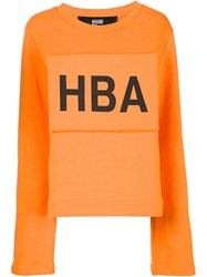 Hood By Air Logo Print Sweatshirt Yellow And Orange