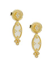 Freida Rothman Crystal Mother Of Pearl And Sterling Silver Textured Dangle And Drop Earrings No Color