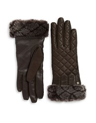Ugg Shearling And Quilted Leather Smart Gloves Brown