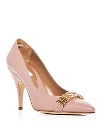 Moschino Logo Pointed Toe Pumps Light Pink