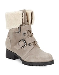 Karl Lagerfeld Belda Sherpa Lined Lace Up Suede Ankle Boots Mushroom