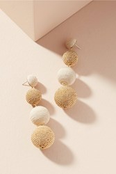 Anthropologie Beaded Disco Drop Earrings Gold