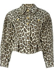 Jean Paul Gaultier Vintage Leopard Print Denim Jacket Nude And Neutrals