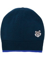 Kenzo Embroidered Tiger Beanie Blue
