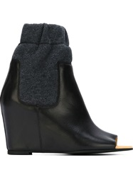 Mm6 Maison Margiela Wedge Open Toe Booties Black