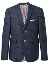 Thom Browne Dog Pattern Blazer Blue
