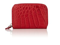 Barneys New York Small Alligator Zip Around Card Case Red
