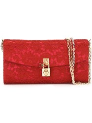 Dolce And Gabbana Floral Lace Evening Clutch Red