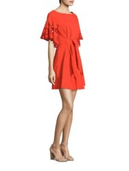 Josie Natori Ruffled Sleeve Dress Mandarin