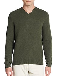 Saks Fifth Avenue Lambswool V Neck Sweater Dark Forest