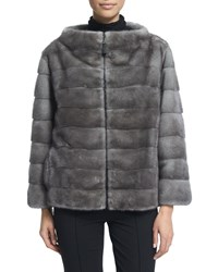 J. Mendel Zip Front Reversible Fur Jacket Blue Iris Women's