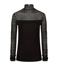 Polo Ralph Lauren Stretch Lace Turtleneck Jumper Female Black