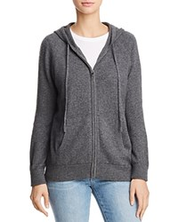 Aqua Cashmere Zip Front Hoodie 100 Exclusive Heather Gray