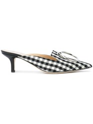 Monse Checked Pointed Mules Black