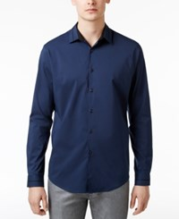 Inc International Concepts Men's Fernando Stretch Shirt Only At Macy's Navy