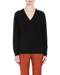 Prada Oversized Wool V Neck Sweater Black