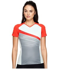 Pearl Izumi Launch Jersey Poppy Red Mist Green Fracture Women's Clothing Gray