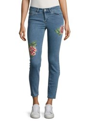 Vero Moda Embroidered Ankle Jeans Light Blue