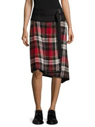 Public School Ilha Plaid Wrap Skirt Red Plaid