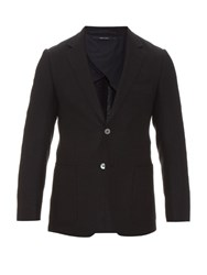 Dunhill Single Breasted Wool And Silk Blend Blazer Navy
