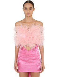 Attico Off The Shoulder Crop Top W Feathers Pink