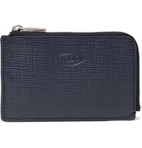 Tod's Zip Around Cross Grain Leather Wallet Navy