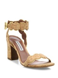 Tabitha Simmons Cloud Scalloped Cork Block Heel Sandals Nude