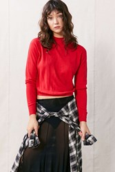 Urban Renewal Vintage Cropped Turtle Neck Sweater Red
