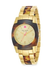 Kate Spade Skyline Goldtone Stainless Steel And Tortoise Print Resin Bracelet Watch Gold Tortoise