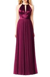 After Six Women's Satin And Chiffon Gown Ruby