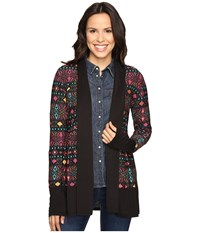 Roper 0607 Folk Embroidery Printed Jersey Cardigan Black Women's Sweater