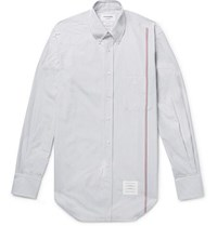 Thom Browne Slim Fit Button Down Collar Striped Cotton Poplin Shirt Gray