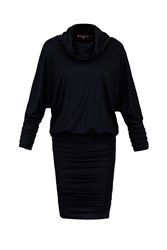 Jolie Moi Cowl Neck Batwing Sleeved Tunic Navy