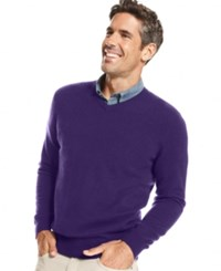 Club Room Cashmere V Neck Solid Sweater Rich Purple Heather