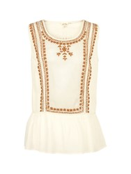 Fat Face Camilla Embroidered Peplum Top Ivory