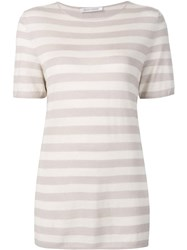 Denis Colomb Short Sleeved Striped Sweatshirt Nude Neutrals