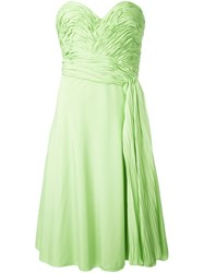 Ermanno Scervino Ruched Strapless Dress Green
