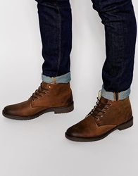 Asos Boots In Brown Leather With Faux Shearling Lining