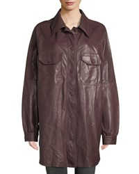 A.L.C. Mercier Button Front Long Sleeve Leather Jacket Maroon