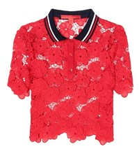 Tommy Hilfiger Lace Polo Shirt Red
